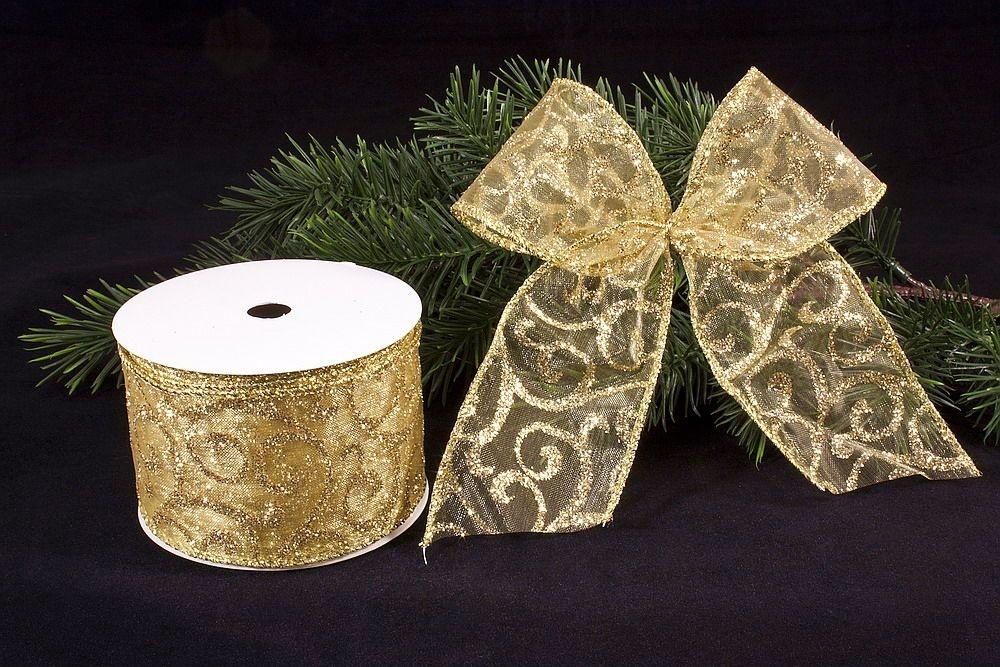 1m x 50mm schleifenband in gold christbaumkugeln. Black Bedroom Furniture Sets. Home Design Ideas