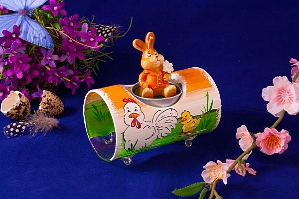 Teelichthalter Glasröhre Huhn mit Küken orange