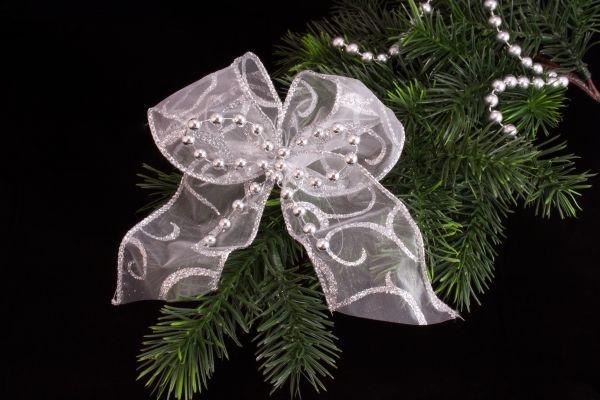 Christbaumschleife mit Perlen in Silber