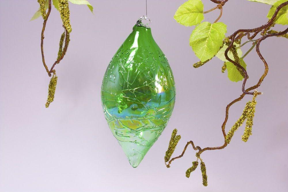 Olive 13cm x  6cm in Seifenblasenoptik klar grün