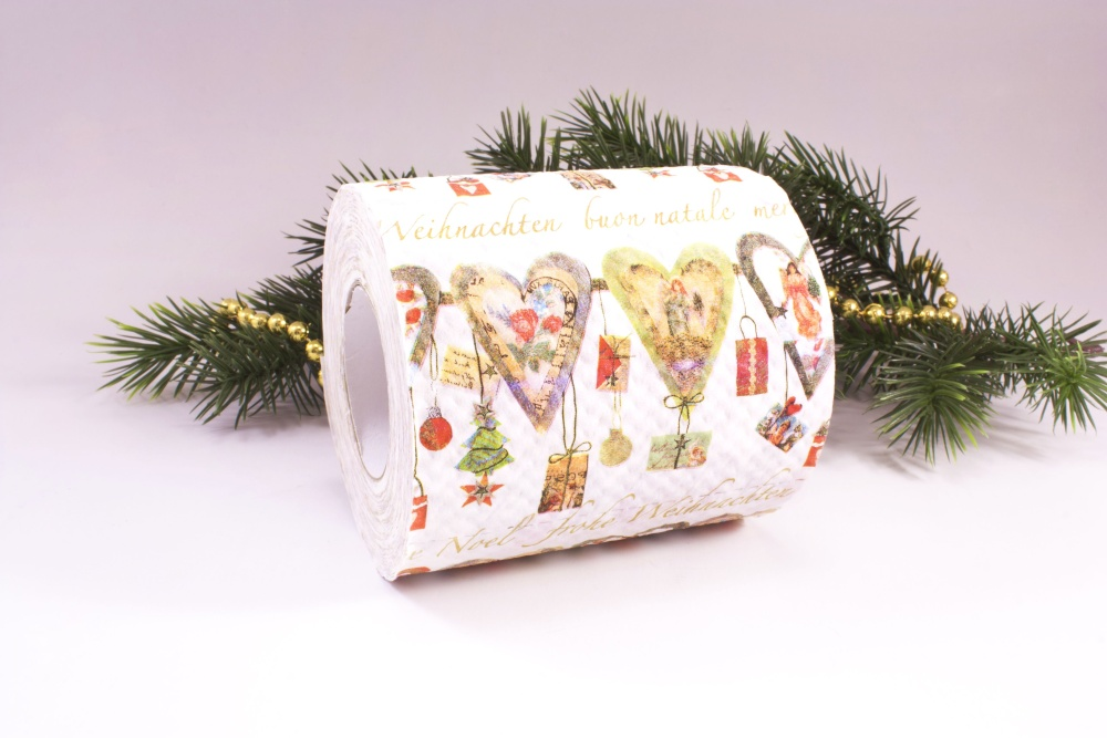 1 Rolle Toilettenpapier bedruckt Weihnachts-Herzen