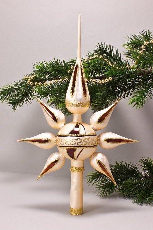 christbaumspitze stern reflex eis champagner braun christbaumschmuck und weihnachtskugeln aus glas. Black Bedroom Furniture Sets. Home Design Ideas
