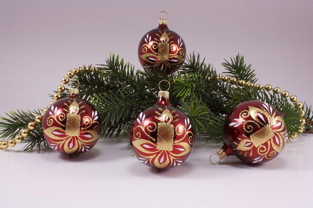 Weihnachtskugeln Glas Lauscha : 4 kugeln 8cm stierglanz kerze christbaumschmuck und ~ A.2002-acura-tl-radio.info Haus und Dekorationen