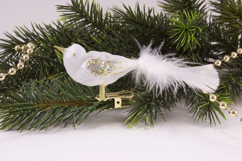 kleiner Vogel Eisweiß transparent Gold mit weißer Feder