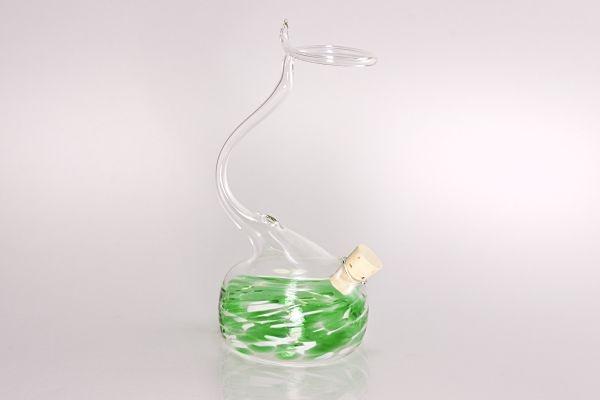 Tintenvase mit Federhalterung für Glasschreiber grün