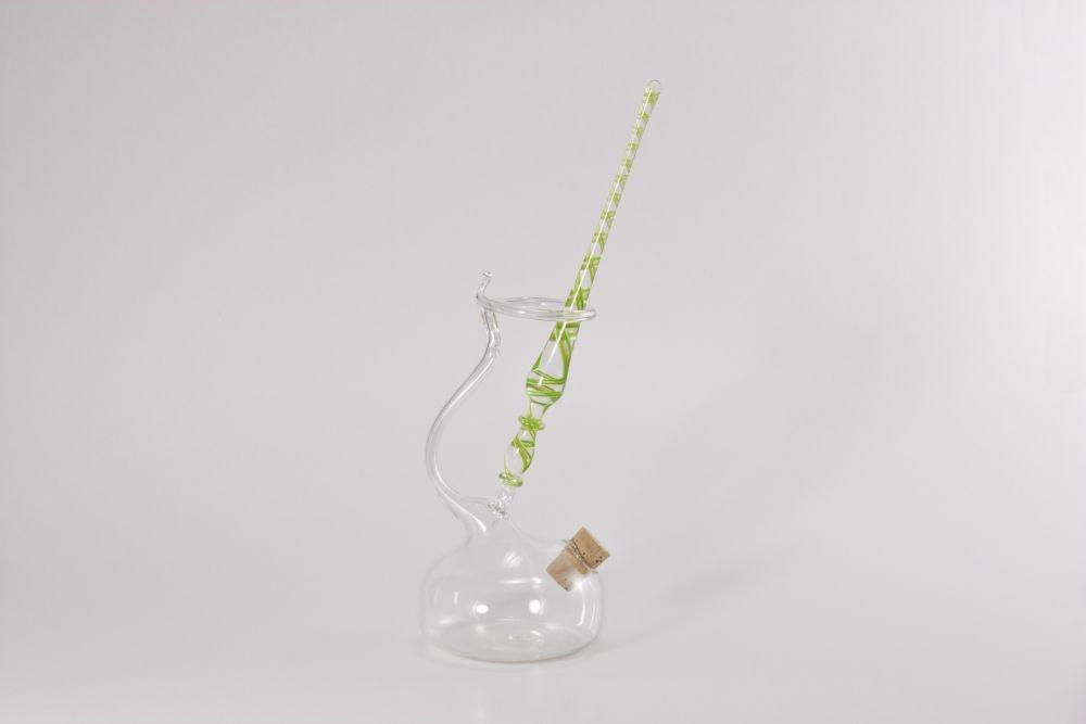 Set Glasfederhalter grün weiß kupferaventurin transparent