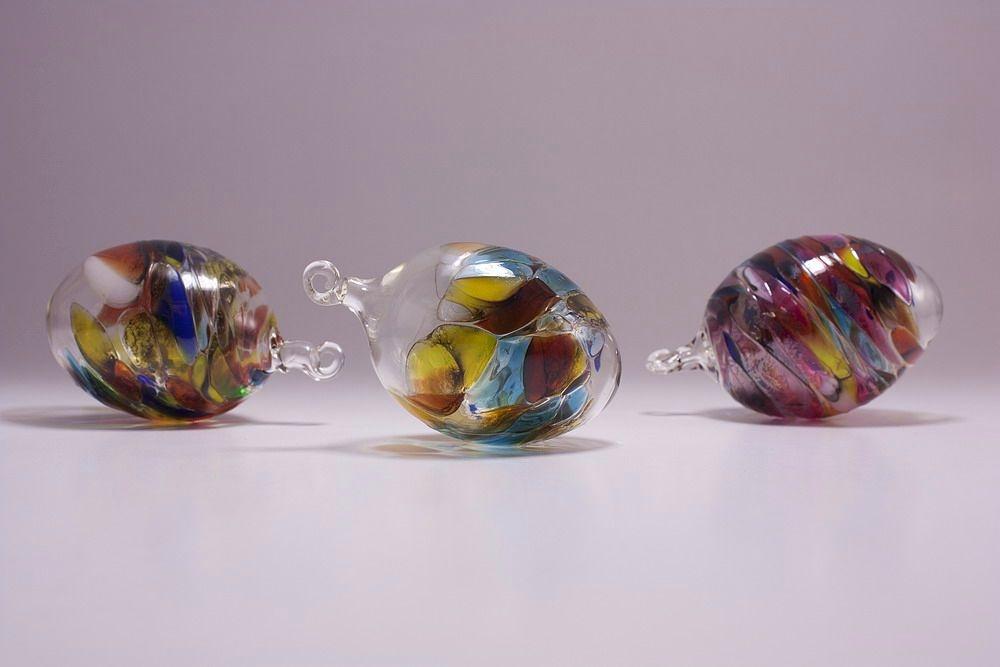 3 bunte Glaseier im Set 7cm