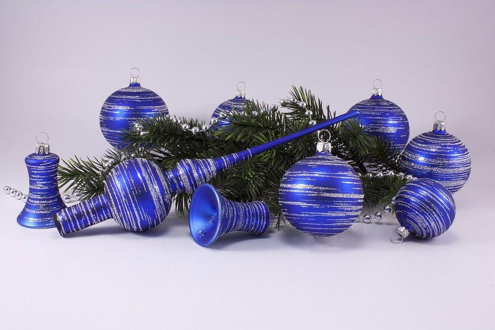 21-teiliges Set blau matt silber geringelt