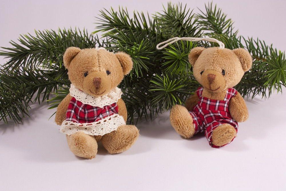 Zwei lustige Teddys rot kariert