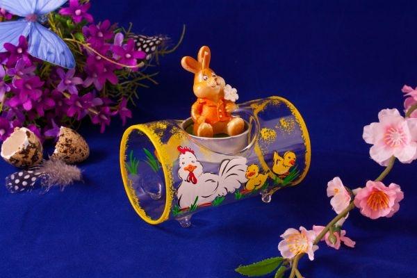 Teelichthalter Glasröhre Huhn mit Küken transparent