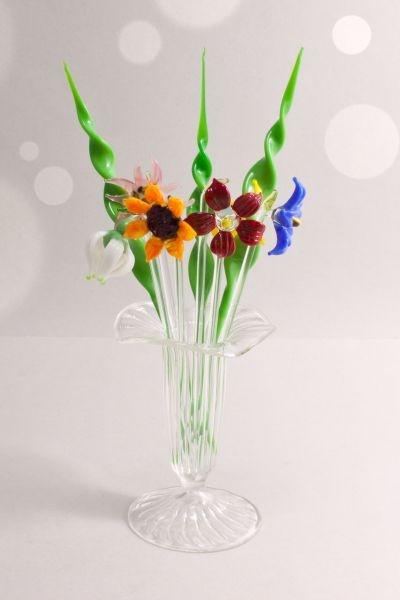 Bowlespieße aus Glas im Set 10-teilig gedrehtes Blatt