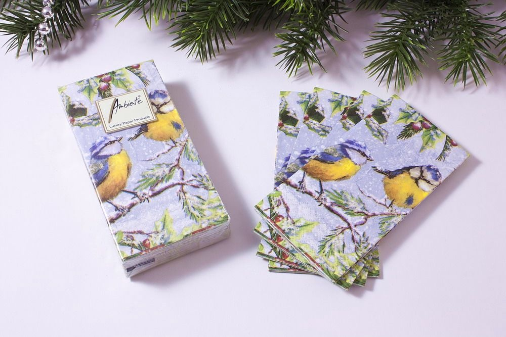 1 Packung Papier-Taschentücher mit Motiv Meise