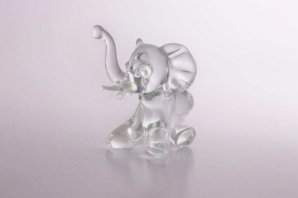 Glasfigur Glaselefant Elefant aus Glas kristallklar