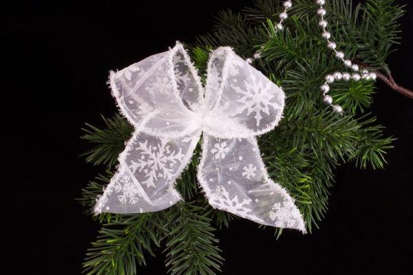 Dekoschleife weiß transparent mit weißer Schneeflocke