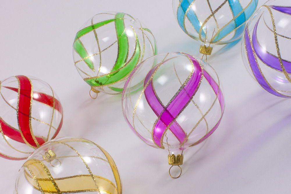 6 bunte weihnachtskugeln aus glas 8cm transparent christbaumkugeln christbaumschmuck und. Black Bedroom Furniture Sets. Home Design Ideas