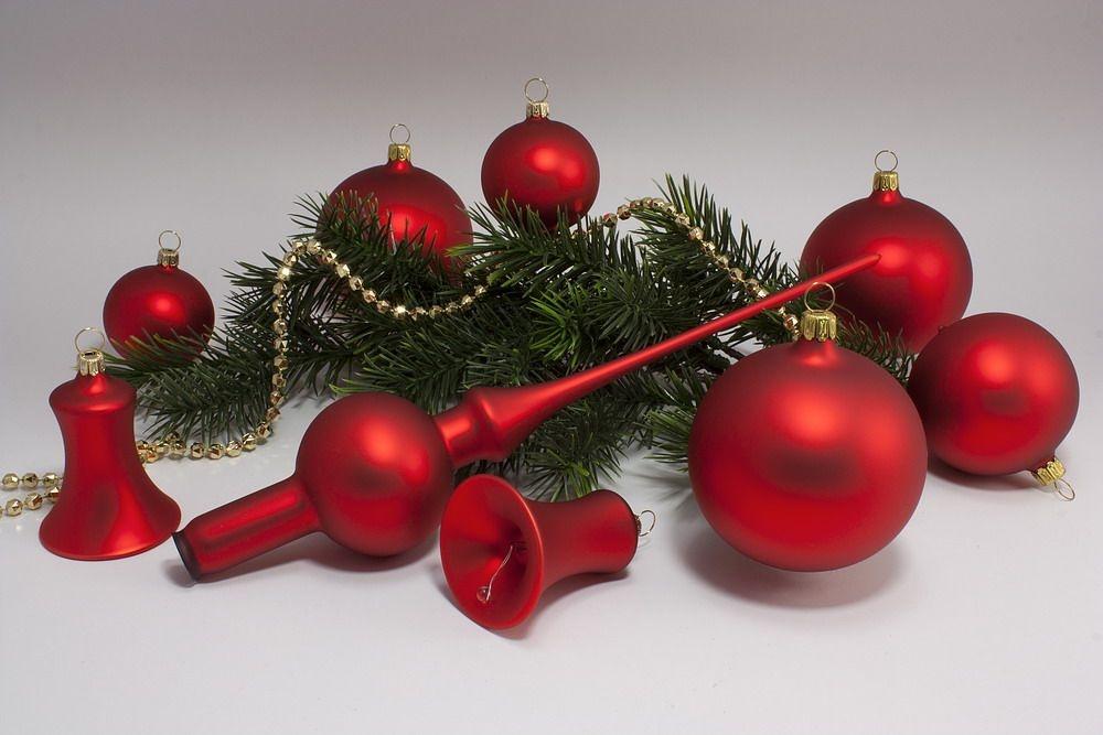 21teiliges Set - rote Weihnachtskugeln rot-matt uni