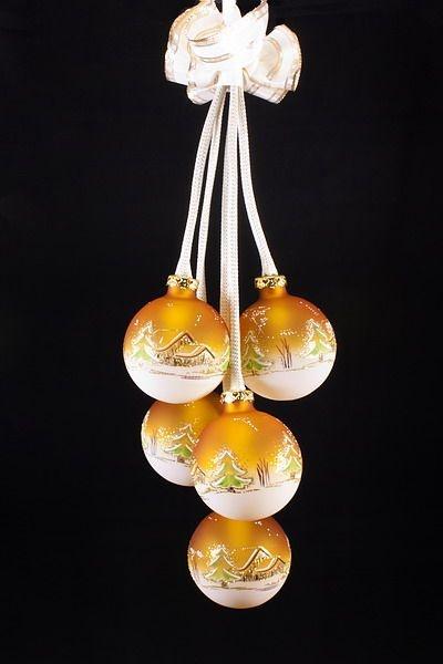 Beleuchtete Christbaumkugeln.5tlg Kugelgehänge Mit Beleuchtung Waldhaus In Orange Bedruckt Und Handbemalt