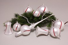Weihnachtskugeln Weiß matt Rot