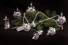 Weihnachtsbaumkugeln Glas klar silber mit Christrose