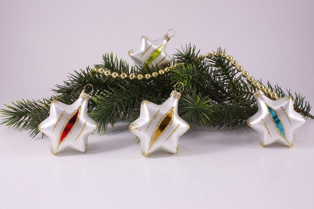 4 sterne bunte weihnacht christbaumkugeln for Bunte lampenschirme aus glas