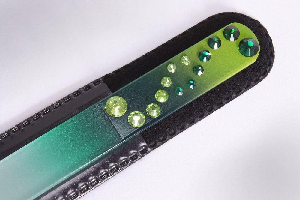 Glasnagelfeile mit Schmuckstein in grün/gelb
