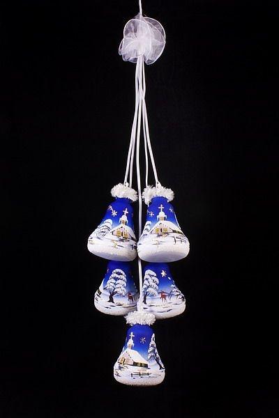Glockengehänge mit Winterlandschaft beleuchtet blau 5tlg.