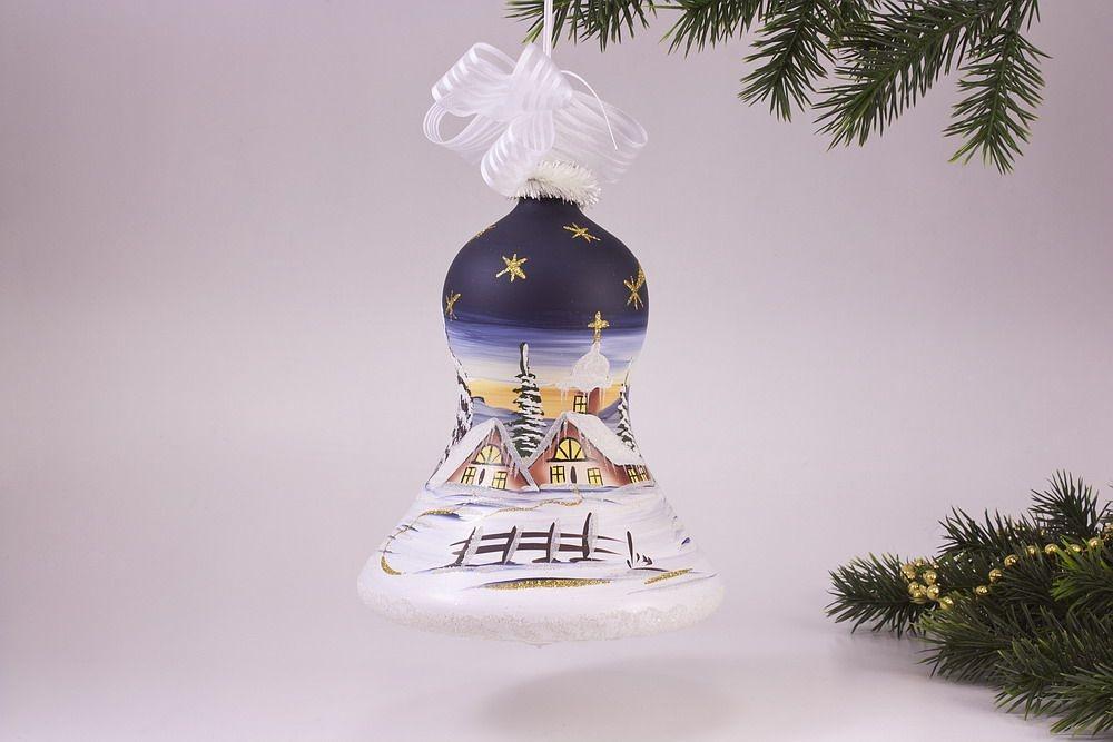 beleuchtete Glocke 16cm mit Winterlandschaft in nachtblau