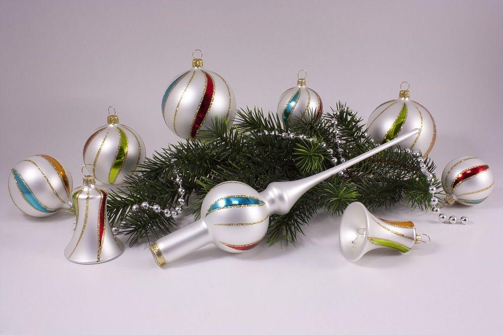 21-teiliges Set mit Christbaumspitze bunte Weihnacht