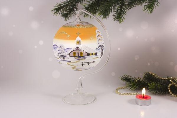 Teelichtkugel 12cm mit Glasständer im Set orange