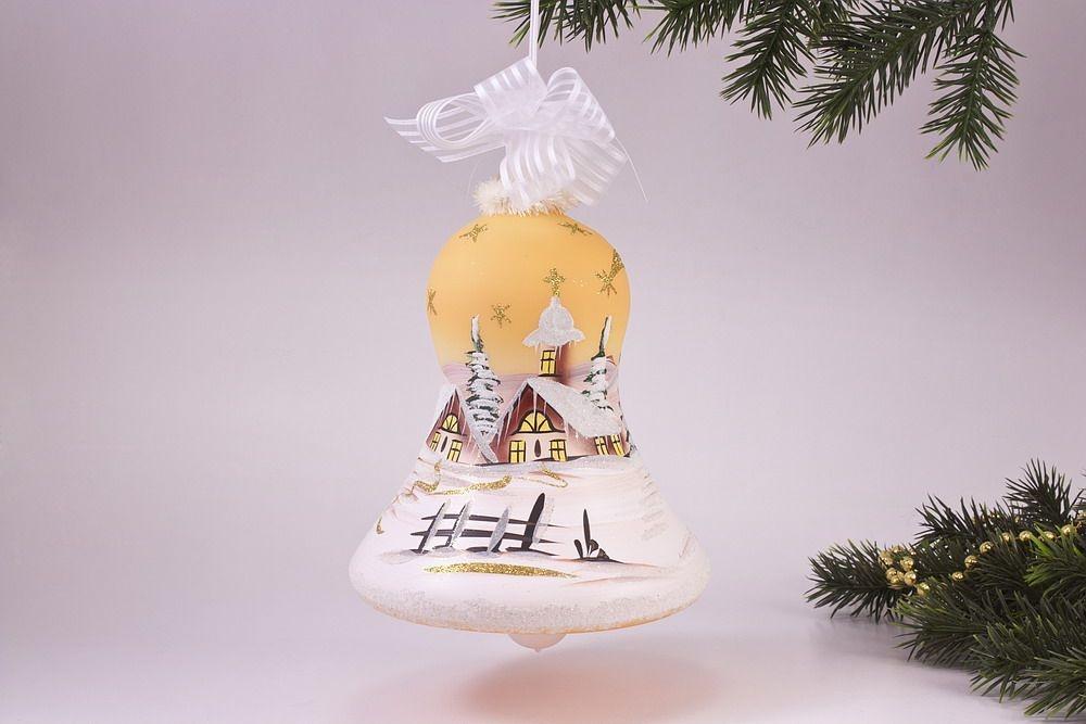 beleuchtete Glocke 16cm mit Winterlandschaft in orange