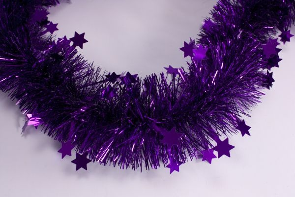Girlande mit Sternen violett 70mm x 3m
