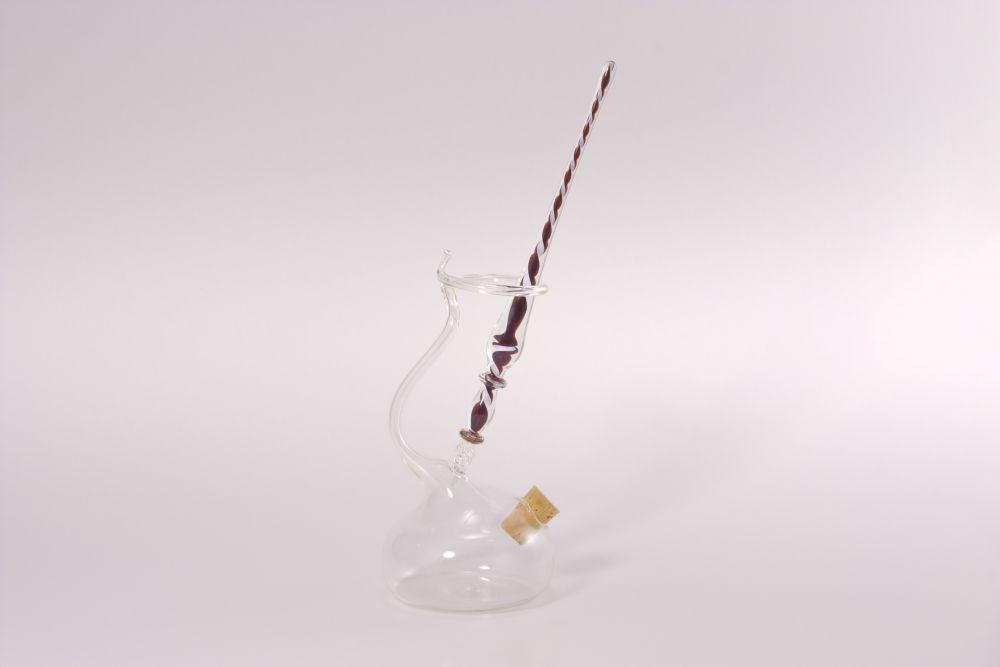 Set Glasfederhalter Glasfeder weiß dunkelrot transparent