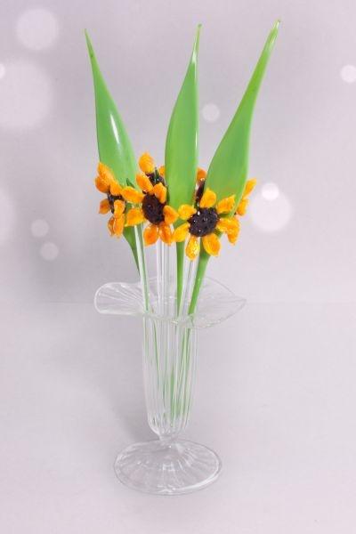 Bowlespieße Glas 10-teilig Sonnenblume im Set gerades Blatt