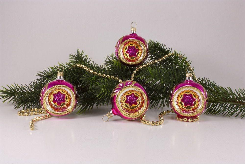 4 Reflexkugeln Ø 6cm im Set pink gold
