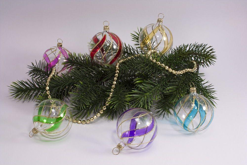 6 bunte Weihnachtskugeln aus Glas 8cm transparent