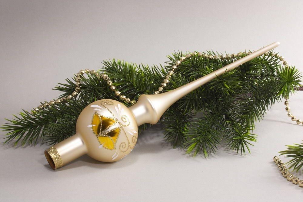 Christbaumschmuck Christbaumspitze Champagner matt
