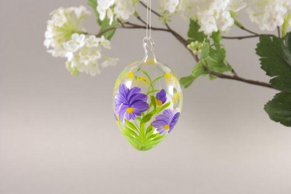 Ostereier aus Glas mit lila Blume ca. 5 cm