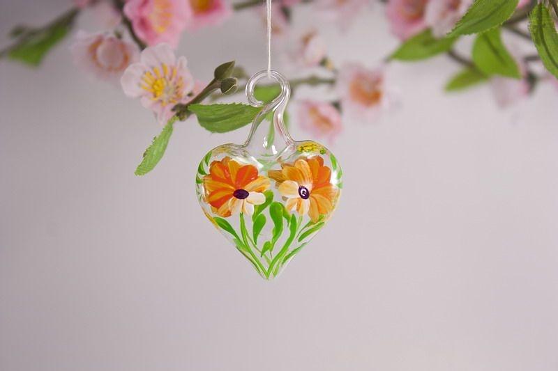Mini-Herz 3,5 cm Miniatur Herz aus Glas Glasherz orange