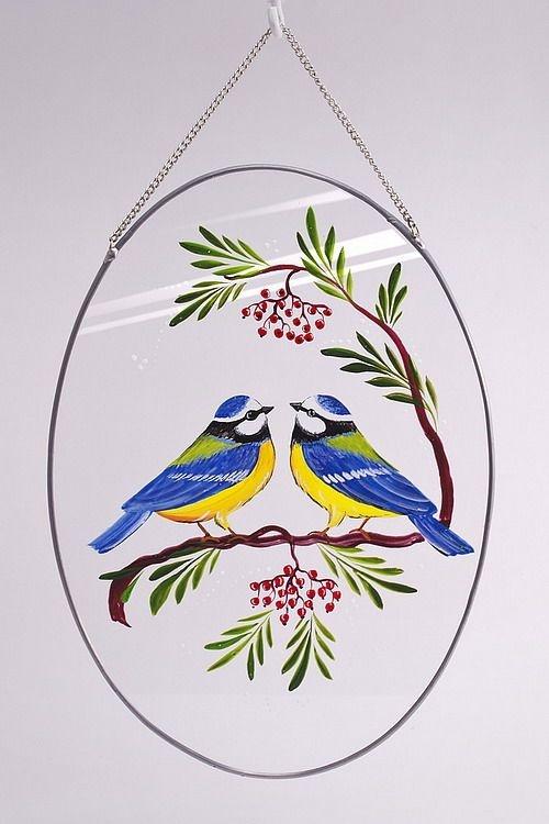 Glasscheibe zum Aufhängen mit handgemaltem Motiv Blaumeisen