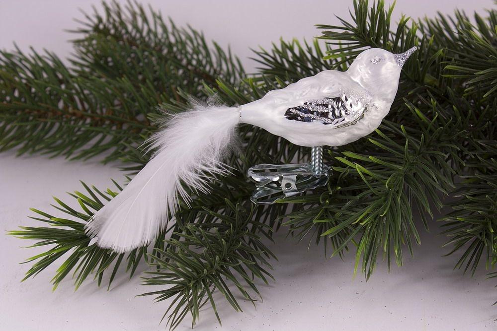 Kleiner Vogel Eisweiss Silber Mit Weisser Feder Christbaumkugeln