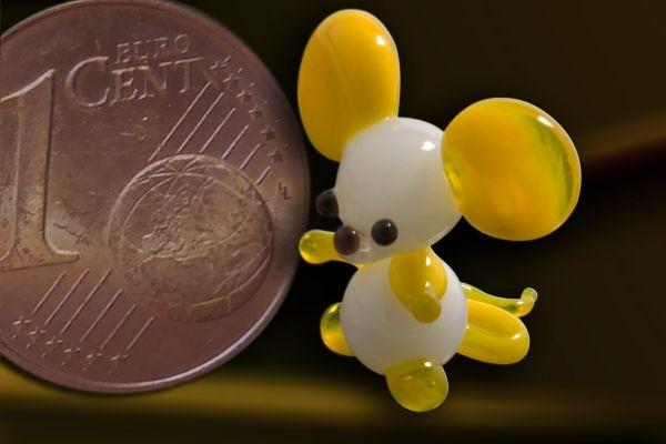 Glasfigur Glasmaus Mini-Maus aus Glas gelb