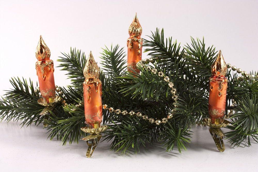 4 kleine Kerzen Eis-orange