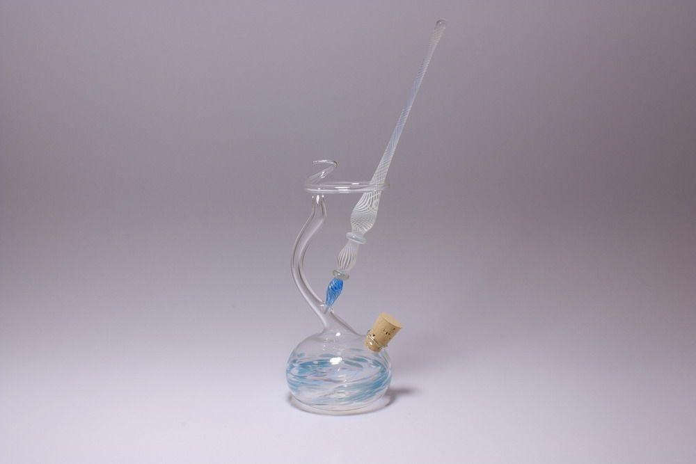 Set Glasfederhalter Glasschreiber weiss hellblau