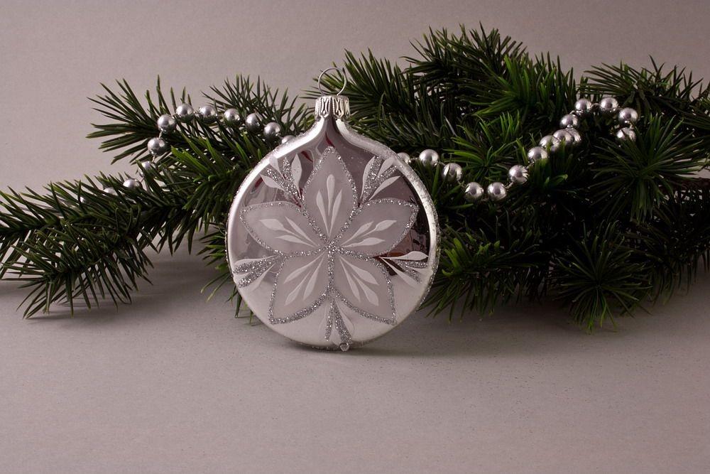 1 Taler ca. 7cm x 1,5cm Silber Glanz mit Christrose