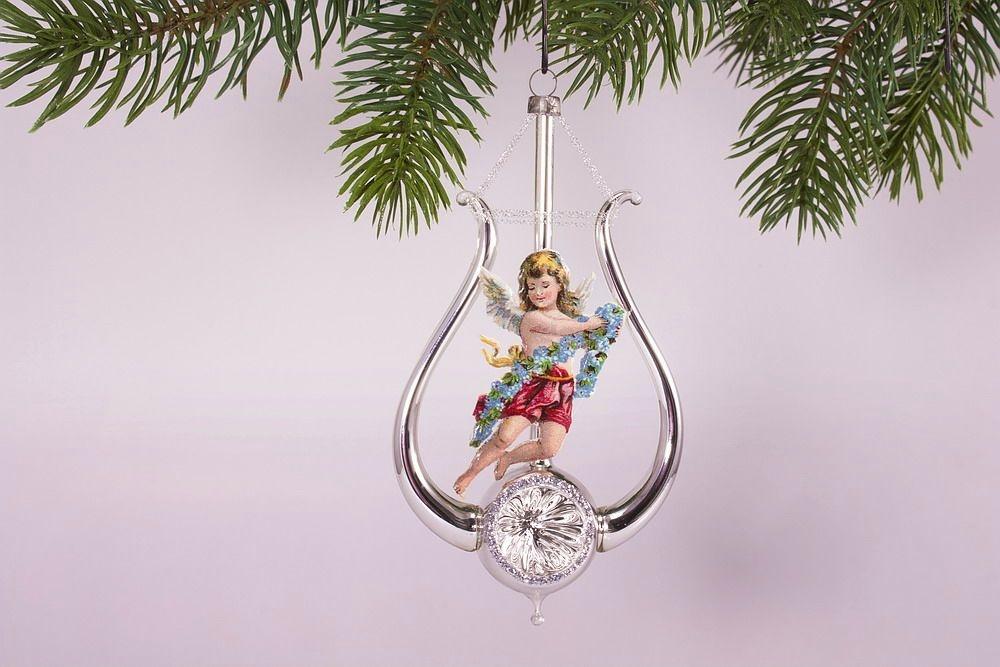 Lyra mit Engel rot - antike Weihnachtskugeln neu belebt