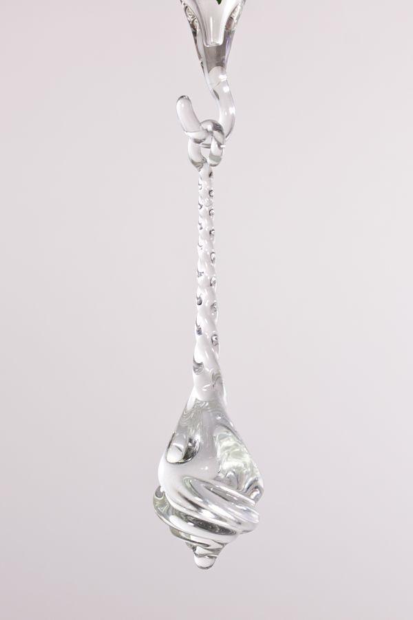 Glastropfen ca. 8 cm x 2 cm gedreht klares Glas