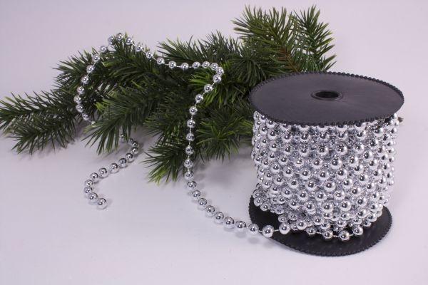 Perlenschnur silber 10m x 8mm