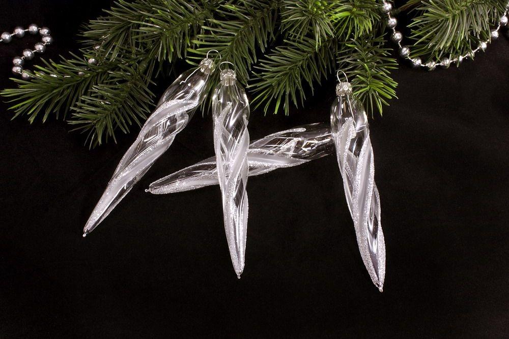 4 Eiszapfen ca.13 x 2 cm  transparent silber gst