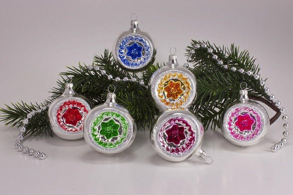 6 Reflexkugeln 8 Cm Silber Farbig Christbaumkugeln