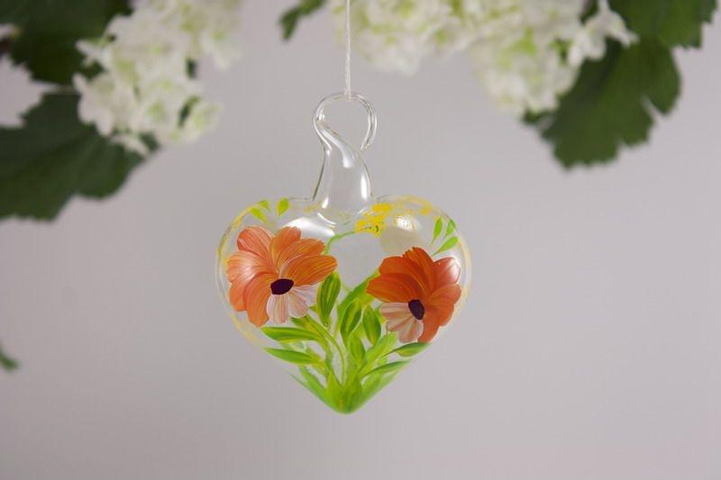 Glasherz Herz 5 cm aus Glas - Blume orange